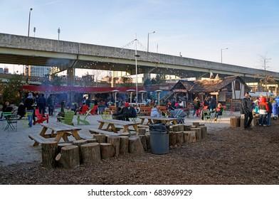 Philadelphia, USA - February 8, 2016:  The winter event by Delaware River in Philadelphia on February 8, 2016.