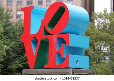 Philadelphia, USA - July 19, 2014: Love Park, officially known as John F. Kennedy Plaza, is a plaza located in Center City, Philadelphia, Pennsylvania.