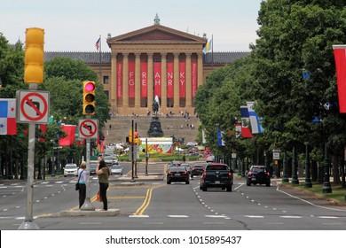Philadelphia, USA - July 19, 2014: The Philadelphia Museum of Art is an art museum originally chartered in 1876 for the Centennial Exposition in Philadelphia