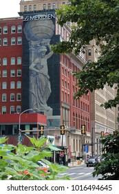 Philadelphia, USA - July 19, 2014: Skyline of Philadelphia  and Le Meridien hotel behind trees