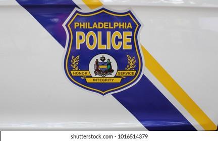 Philadelphia, USA - July 19, 2014: Philadelphia police car badge