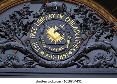 Philadelphia, USA - July 19, 2014: Sign in front of free library of Philadelphia
