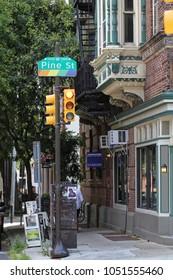 Philadelphia, USA - July 19, 2014: Pine street in Philadelphia with traffic
