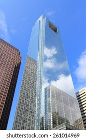 PHILADELPHIA, USA - JUNE 11, 2013: Comcast Center building in Philadelphia. As of 2012 the 297m tall skyscraper is the tallest building in Philadelphia and 15th tallest in the US.