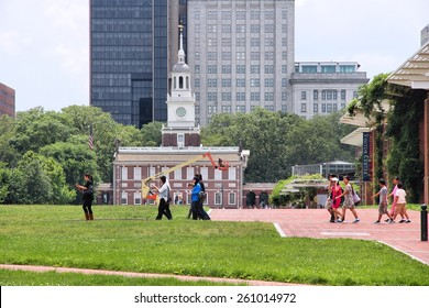 PHILADELPHIA, USA - JUNE 11, 2013: People visit Independence National Historical Park in Philadelphia. The Park was designated in 1948 and is administered by National Park Service.