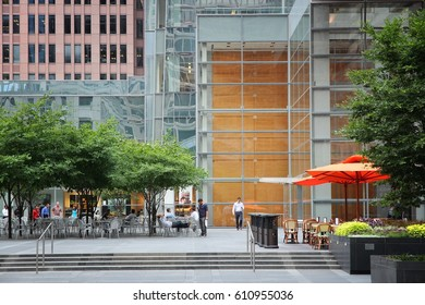 PHILADELPHIA, USA - JUNE 11, 2013: People visit a cafe in Philadelphia. As of 2012 Philadelphia is the 5th most populous city in the US with 1,547,607 citizens.