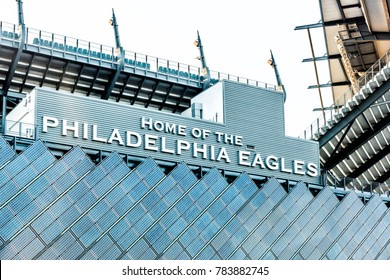 Philadelphia, USA - June 11, 2017: Closeup of sign for Lincoln Financial Field stadium, home of eagles with bleachers seats