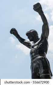 PHILADELPHIA, USA - JUNE 17, 2016: A view of the Rocky Statue on a sunny day in Philadelphia. This statue is one of the most popular attractions in Philadelphia, Pennsylvania.