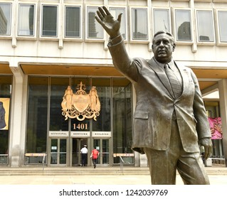 Philadelphia, USA - May 29, 2018: Frank L. Rizzo Monument near the Philadelphia Municipal Services Building, PA, USA