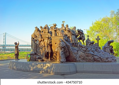 Philadelphia, USA - May 4, 2015: Memorial to Irish famine at Penns Landing in Philadelphia, Pennsylvania, the USA.
