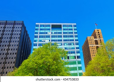 Philadelphia, USA - May 4, 2015: Metropolitan Building and Family Court of Philadelphia Skyscrapers viewed from Love Park, Pennsylvania, USA.