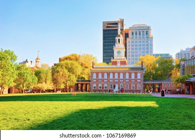 Philadelphia, USA - May 5, 2015: Independence Hall on Chestnut Street in Philadelphia, Pennsylvania, USA. It is the place where the US Constitution and the US Declaration of Independence were adopted