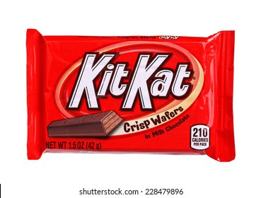 PHILADELPHIA, USA - OCTOBER 30, 2014:  Kit Kat bar isolated on white. Kit Kat is a chocolate biscuit bar confection that is manufactured by Nestle