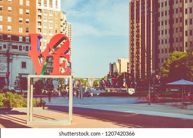 PHILADELPHIA - USA - SEPTEMBER 19, 2018: Sunrise time at city center in Philadelphia at summer time.