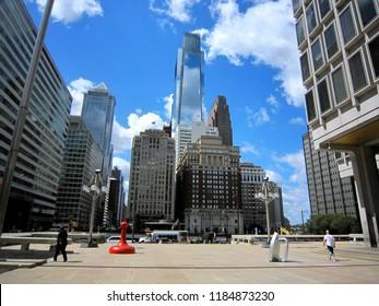 PHILADELPHIA, USA - SEPTEMBER 7, 2016: skyscrapers in downtown Philadelphia including Comcast Center building