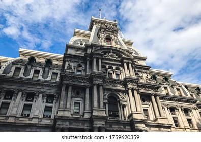 Philadelphia/PA/USA - 08 18 18: Philadelphia City Hall in a sunny day