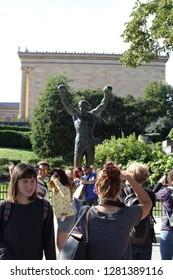 Philadelphia/Pennsylvania - 09.08.2017: Line to see Rocky Balboa's statue