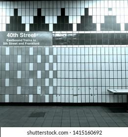 Philadelphia,Pennsylvania - June 3rd, 2019:SEPTA's 40th Street subway trainstation