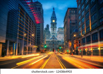 Philadelphia's historic City Hall at dusk