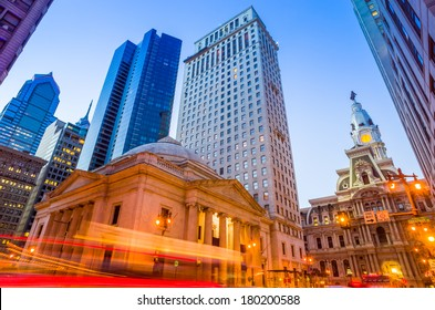 Philadelphia's landmark historic City Hall building at twilight