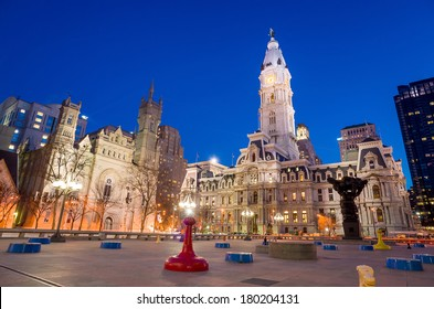 Philadelphia's landmark historic City Hall building at twilight