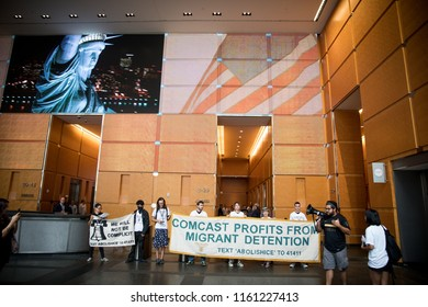 PHILADELPHIA/USA. July 31, 2018,  Protesters arrested following an occupation of the Comcast building in protest of Comcast's contracts with Immigration and Customs Enforcement (ICE)