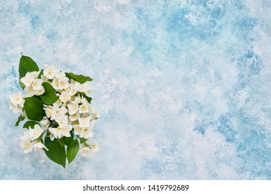 Philadelphus or mock-orange flowers bouquet on blue pastel background. Flat lay of Birhday, Mothers Day, bachelorette, Wedding concept. Copy space, top view