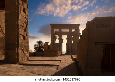 Philae temple, Aswan, Egypt. Early morning light at the temple, a popular destination for river cruise ships from Luxor on the River Nile