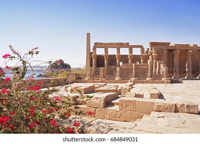 Philae temple of Isis, Trajan's Kiosk and sunny clear blue sky, Agilkia Island, Lake Nasser, Aswan, Egypt