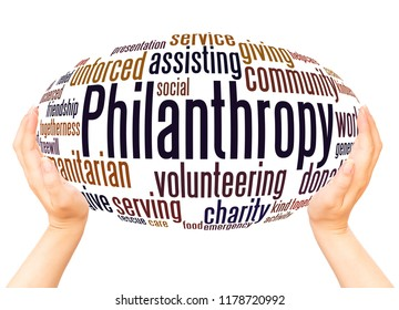 Philanthropy word cloud hand sphere concept on white background.