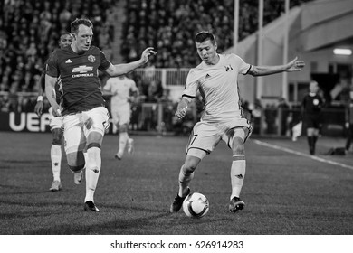 """Philip Jones, Game moments in match 1/8 finals of the Europa League between FC """"Rostov"""" and """"Manchester United"""", 09 March 2017 in Rostov-on-Don, Russia."""