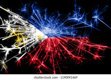 Philipines fireworks sparkling flag. New Year 2019 and Christmas party concept
