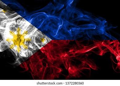 Philipines smoke flag isolated on black background