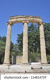Philippeion, athenian monument in the Altis of Olympia. Katakolon, Greece