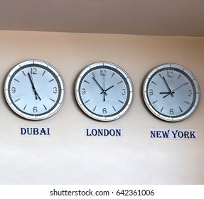 in philipphines airport different watch with worldwide timezone
