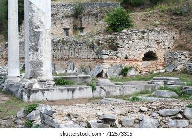 Philippi Archaeology Site (Basillica A, dated 500 AD). These ruins from Ancient Philippi are from the area known as Basillica A, which dates from 500 AD.