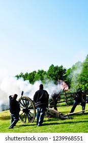 Philippi West Virginia, USA, Carlin's Battery a Civil War reenactors group, firing a Parrot Gun, June 2, 2011