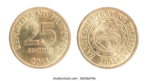 Philippine 25 sentimo coin closeup - Shutterstock ID 342366746