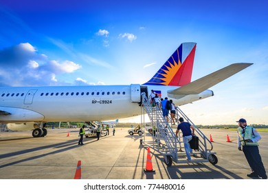Philippine Airlines (PAL) at Caticlan airport on Nov 17, 2017 near Boracay Island in the Philippines