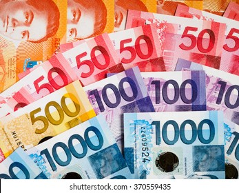 Philippine currency of various denominations