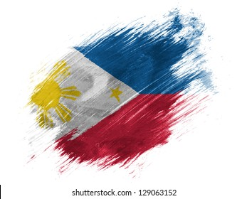 Philippine Flag Painted With Brush On White Background