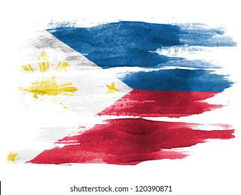 Philippine flag painted on white paper with watercolor