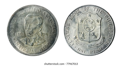 Philippine old coins on the white background (1863-1963)
