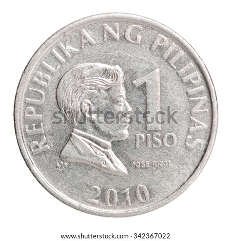 Philippine Peso Coin 1 Image Jose Stock Photo (Edit Now ...
