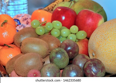 It's a Philippine tradition to put different kind of 12 round fruits in the table before new year eve comes. It says that it brings luck and blessings to the family or home that perform this ritual.
