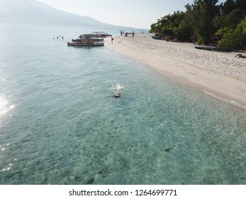 Philippines 2018 drone in the air photographing beach and inland of Camiguin