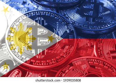 Philippines bitcoin flag, national flag cryptocurrency concept black background