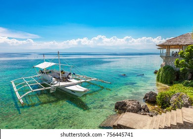 Philippines boat with  scuba diving equipment.