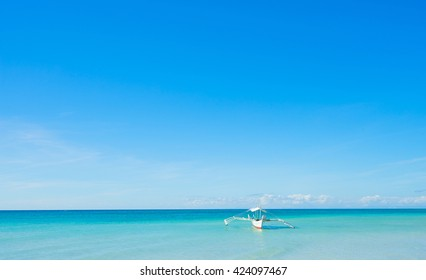 Philippines boat in sea with blue sky background