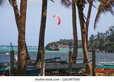 PHILIPPINES, BORACAY - December 1 1918:  kite flying in bluesea on Boracay's famous Bulabog beach